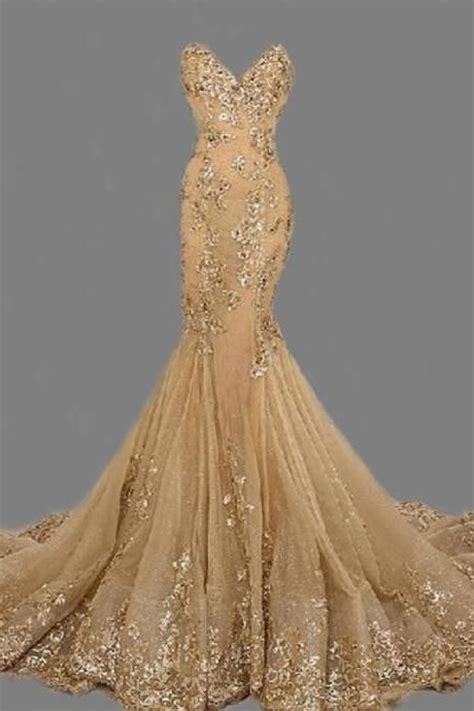 Handmade Evening Dresses - fashion gold sweetheat prom dress handmade gold