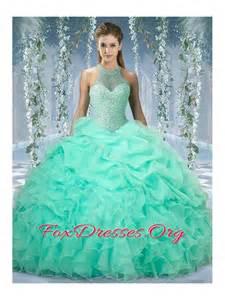 mint color quinceanera dresses 2016 halter top beaded and ruffled quinceanera dresses in mint