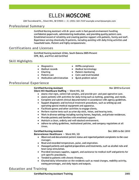 Career Objective For Cna Cna Resume Delindana