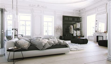 white bedroom with black accents parisian apartment soft white bedroom with light