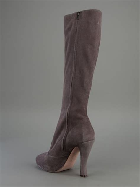 l autre chose suede knee length boot in gray grey lyst