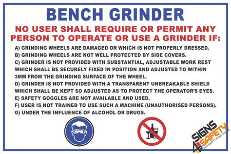 bench grinder safety rules signage fm1 bench grinder safety rules sign 300mm x