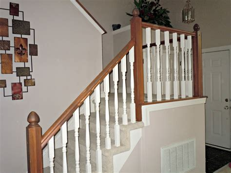 The Banister by Updating A Painted Banister With Gel Stain