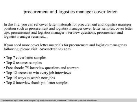 cover letter for site supervisor procurement and logistics manager cover letter