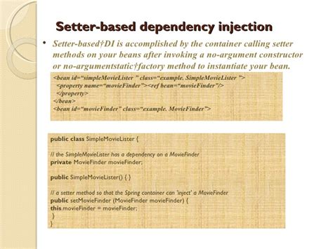 setter dependency injection spring exle spring framework