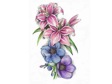 colour flower tattoo designs 61 flowers tattoos collection