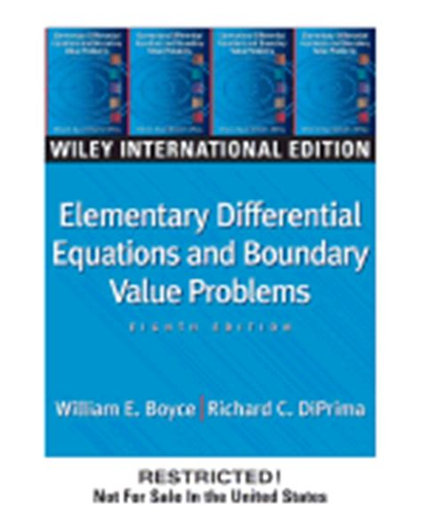Elementary Differential Equations And Boundary Value Problems 10th Ed elementary differential equations and boundary value problems book by william e boyce 17