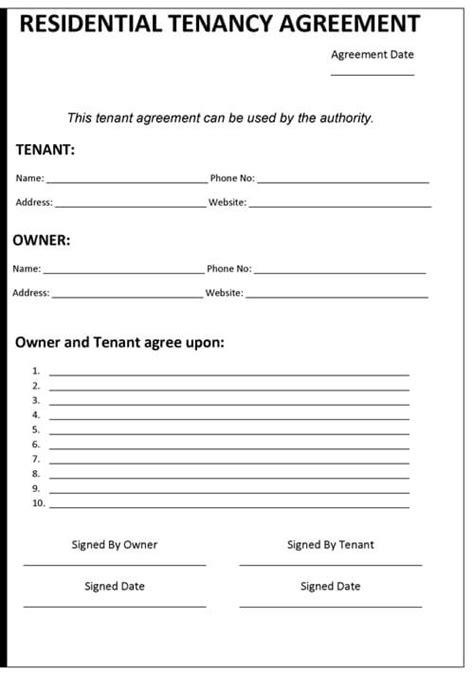 sample tenancy agreement template word