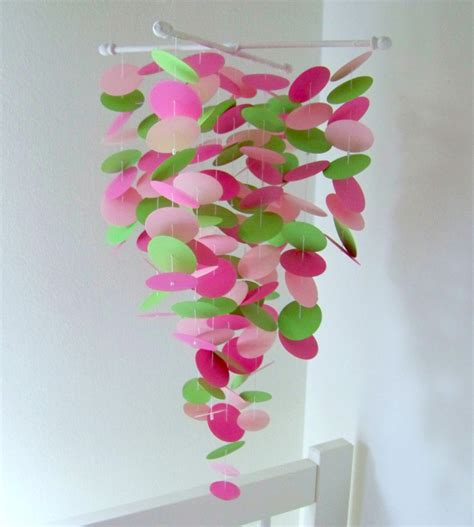 Handmade Baby Mobiles - pink and green handmade baby mobile by sweetsdivine on etsy