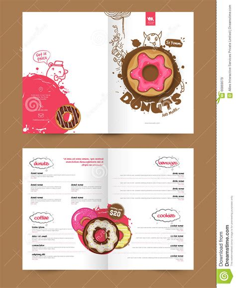 two page brochure template or flyer for bakery stock