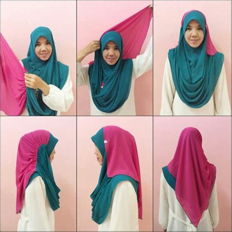 tutorial hijab pashmina instant tudunginstant tumblr busana tudung pinterest