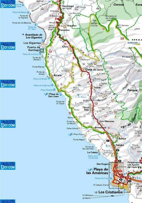 road map of usa west coast maps to the local area los gigantes santiago and