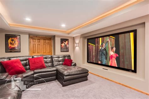 basement theater  projector tv contemporary