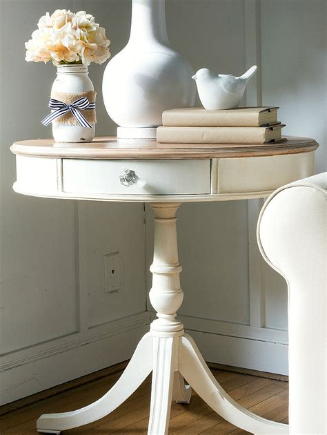 white drum end table drum table makeover