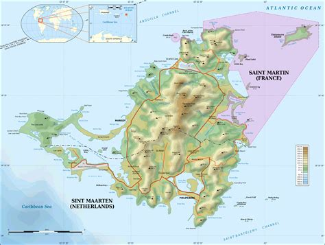 map st islands large detailed topographical map of martin island