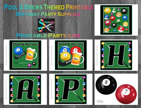 printable birthday table decorations printable billiards party supplies billiards birthday