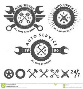 Garage Workshop Plans Designs auto service labels emblems and logo elements stock vector