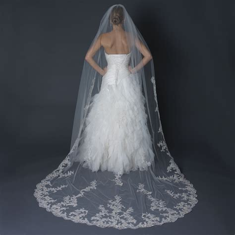 Floral Wedding Veil floral lace scalloped edge cathedral length wedding veil