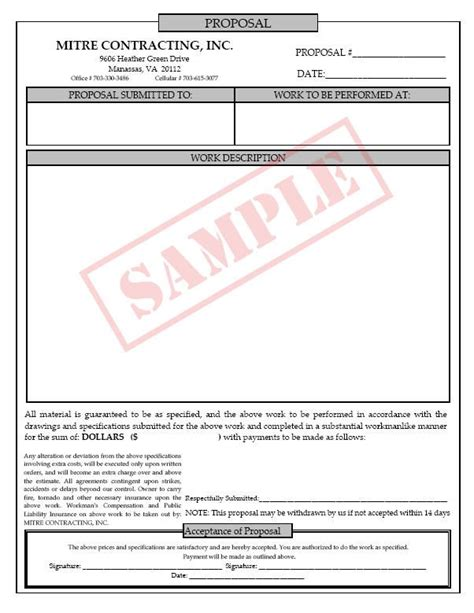 printable blank bid proposal forms free job proposal