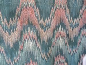 Waverly Upholstery Missoni Like Fabric Flame Stitch Ikat Zig Zag Pink Teal
