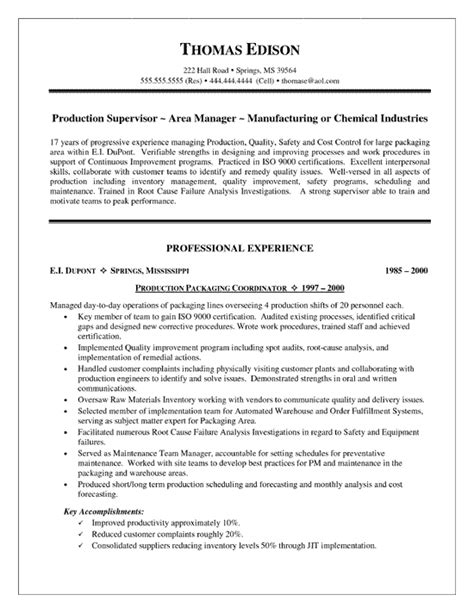 production supervisor resume format production supervisor resume exle