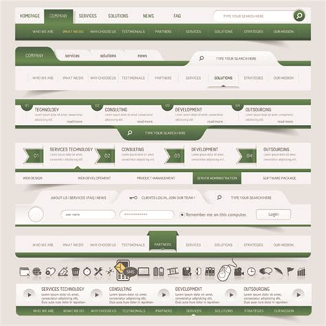 menu layout website vector web elements menu art graphic 05 vector web