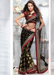 This black indian saree has modern type of blouse style which looks so