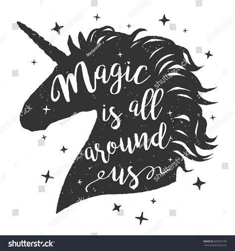 design is all around us vector unicorn head silhouette text inspirational stock