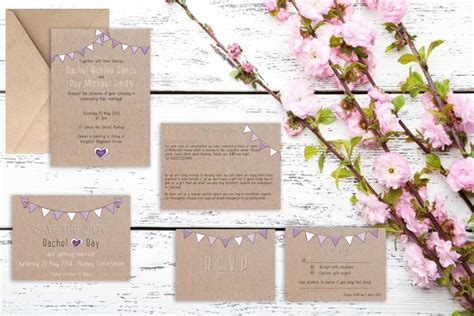should save the dates match wedding invitations rustic purple bunting wedding invitation matching save