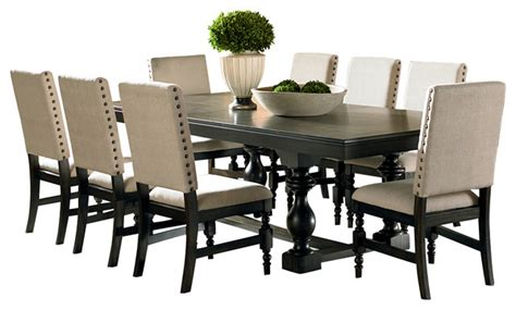 9 Pcs Dining Room Set Steve Silver Leona 9 Dining Room Set Traditional At Table Sets Wingsberthouse 9