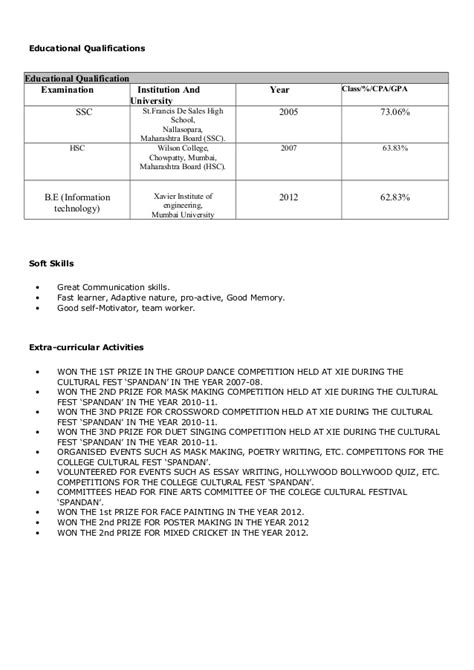 education qualification format educational qualification in resume resume ideas