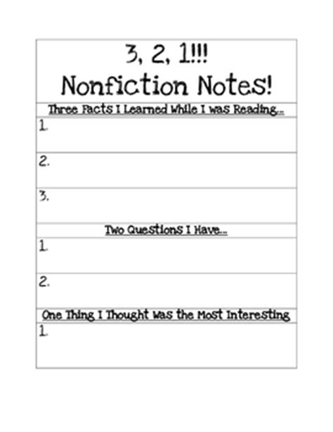 3 2 1 Nonfiction Notes By Copeland S Got Class Tpt 3 2 1 Strategy Template
