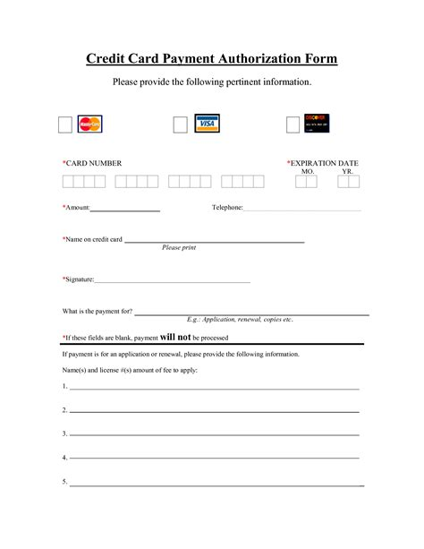 Credit Card Template Word Free residential rental application free authorization forms