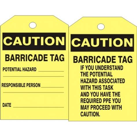 Barricade 2x3 By Safety Store caution tag caution barricade tag 6 125 x 3 312