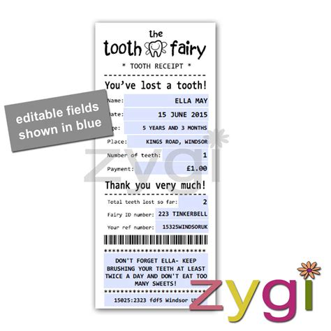 tooth receipt template editable tooth kit editable receipt and envelope editable