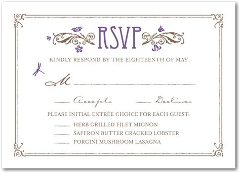 Dinner Response Card Template by Nouveau Wedding Invitation Suite Deco Weddings