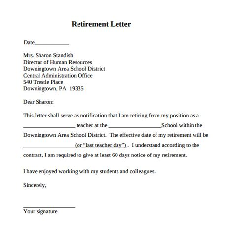 retirement letter 17 download free documents in pdf word