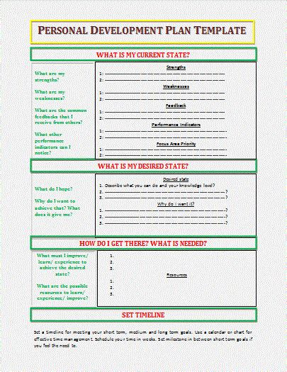 personal development plan template word personal development plan template word