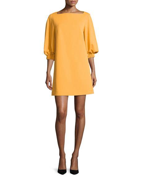 boat neck dress with 3 4 sleeves tibi crepe boat neck 3 4 sleeve shift dress orange