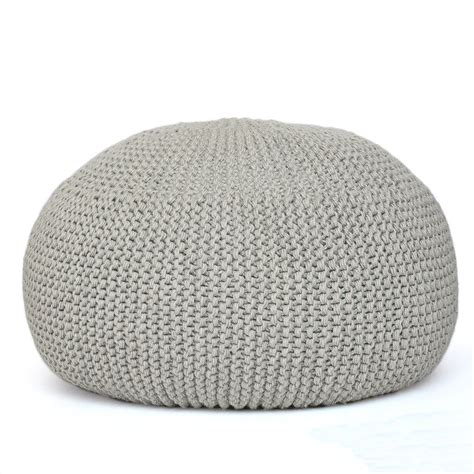 knitted poufs ottomans knitted pouf grey images