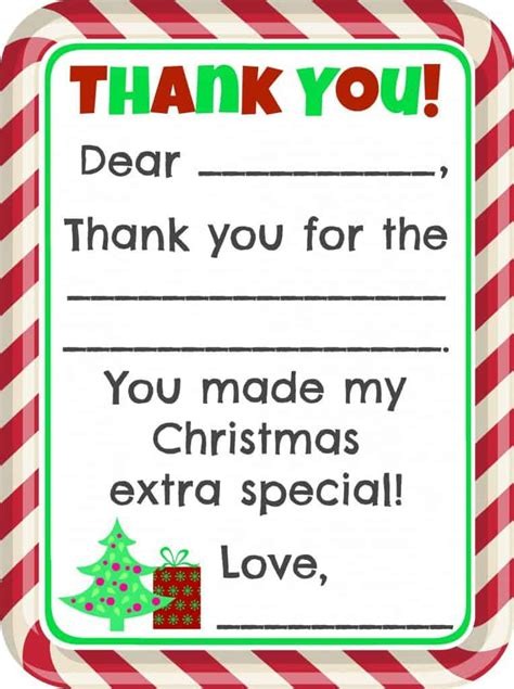 Printable Christmas Present Thank You Cards | fill in the blank christmas thank you cards free printable