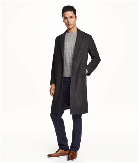h m coat in a wool blend in gray for lyst