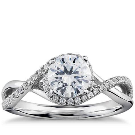petite twisted halo diamond engagement ring   white