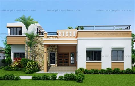 modern two storey house with streamline roof rey four bedroom one storey with roof deck shd 2015021