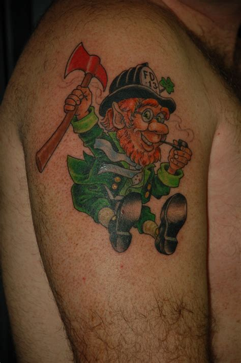 leprechaun tattoos leprechaun strike the box firefighter tattoos