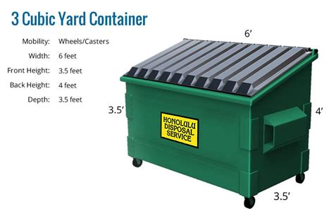 3 Cubic Yards 3 Cubic Yard Trash Bin Dimensions Crafts