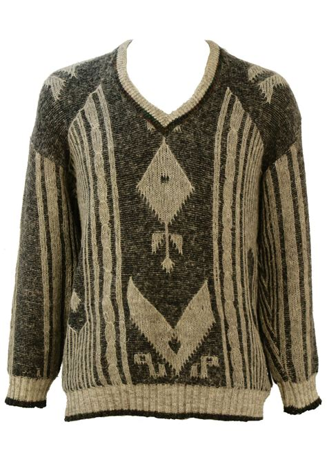 pattern wool jumper v neck wool jumper with charcoal light grey pattern l