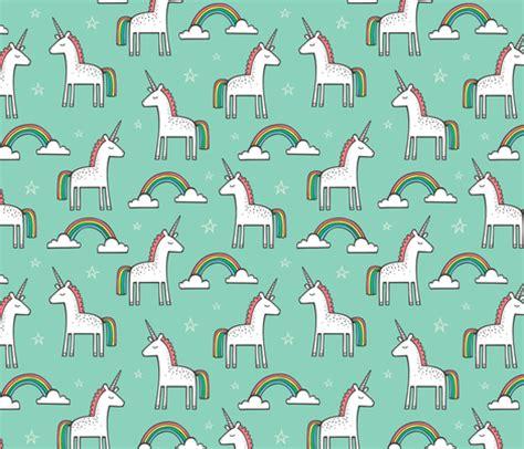 unicorn pattern fabric cute unicorn rainbow in mint fabric caja design
