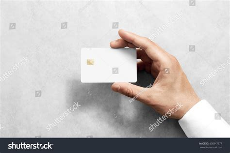Holding Credit Card Template Holding Blank White Credit Card Stock Photo 508347577