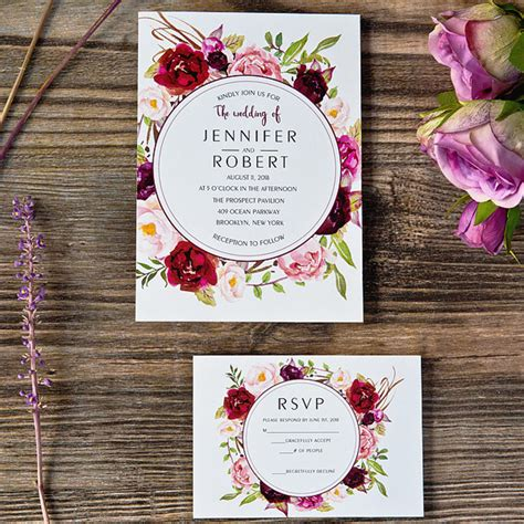 cheap purple wedding invitations cheap burgundy floral boho wedding invitations ewi421 as